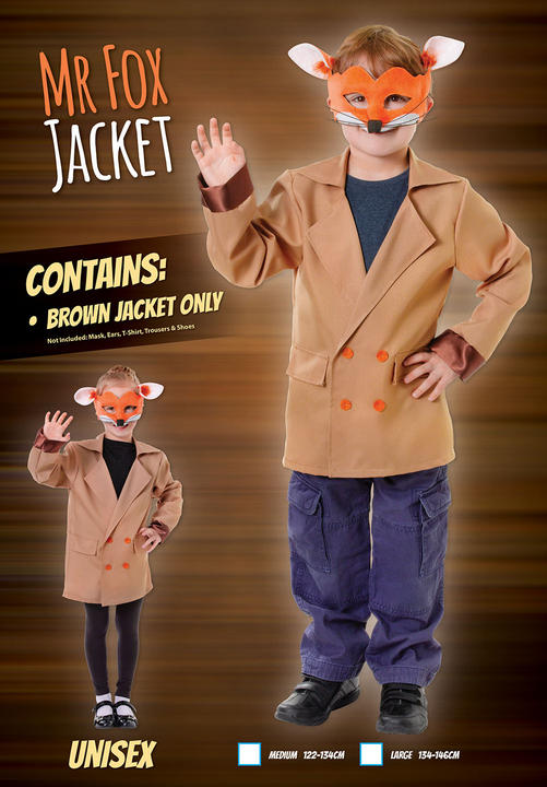 Boys Book Week Fox Jacket Kids Fancy Dress Outfit Thumbnail 1