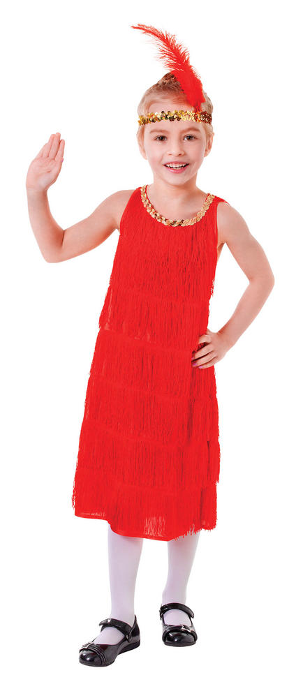 Kids 1920's Red Charleston Flapper 20's Dress Girls Fancy Dress Childs  Costume