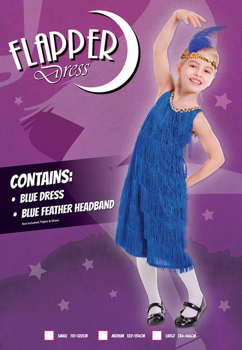 Kids 1920's Blue Flapper Charleston 20's Girls Fancy Dress Costume Party Outfit Thumbnail 2