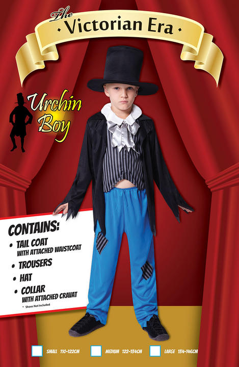 NEW Kids Victorian Boy Costume Child Urchin Fancy Dress Peasant Book Day Outfit Thumbnail 2