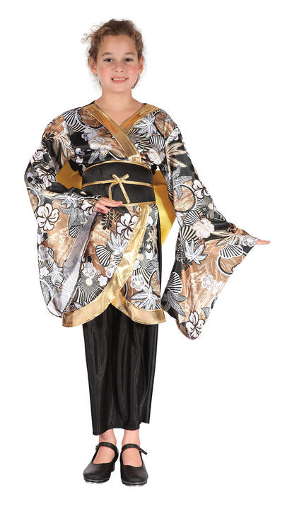 Childs Geisha Girl Black/Gold Costume Thumbnail 1