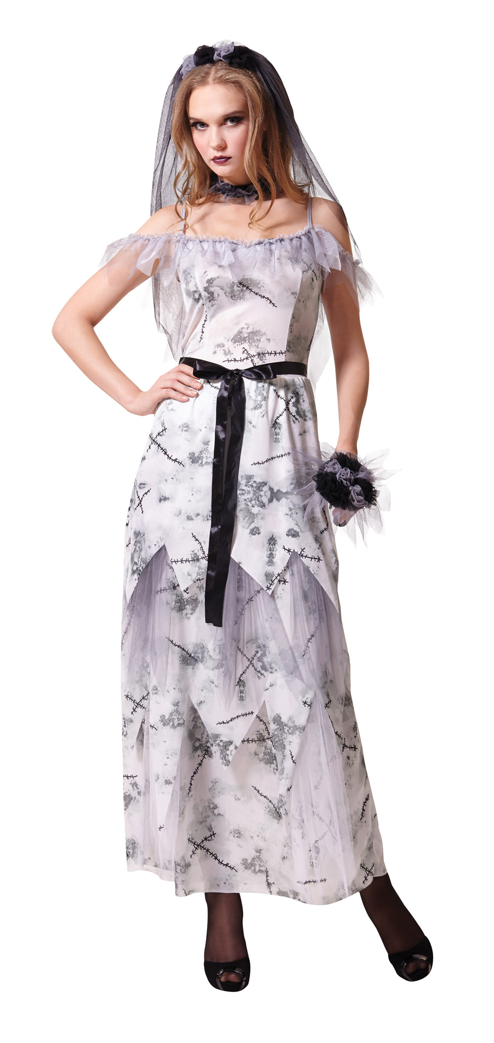 Zombie Bride Costume Ladies Halloween Horror Night Fancy Dress ...
