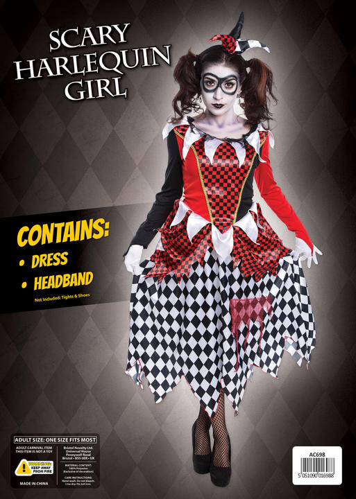 Women's Evil Harlequin Fancy Dress Costume  Thumbnail 1