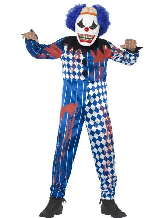 Kids Deluxe Sinister Circus Evil Clown Boys Halloween Fancy Dress Childs Costume Thumbnail 1