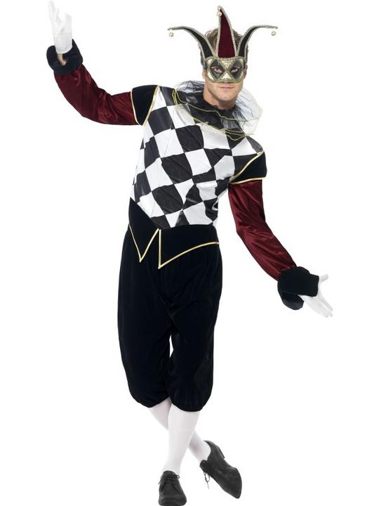 Adult Gothic Venetian Harlequin Jester Mens Halloween Fancy Dress Costume Outfit Thumbnail 1