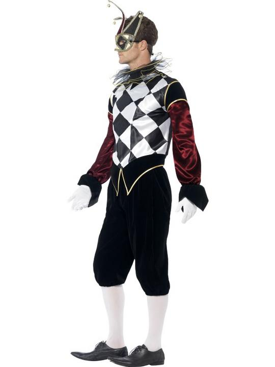 Adult Gothic Venetian Harlequin Jester Mens Halloween Fancy Dress Costume Outfit Thumbnail 2