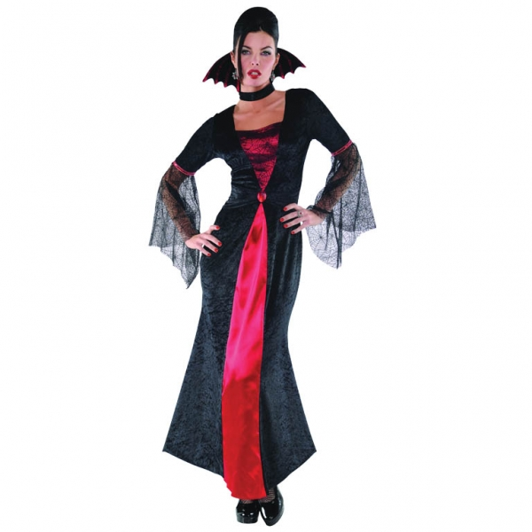 Adult Gothic Countess Vampiretta Ladies Halloween Fancy Dress Costume Outfit