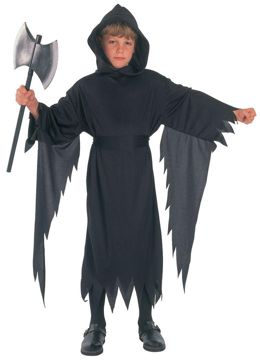 Kids Black Demon Hooded Robe Boys Halloween Fancy Dress Childs Costume Outfit Thumbnail 2