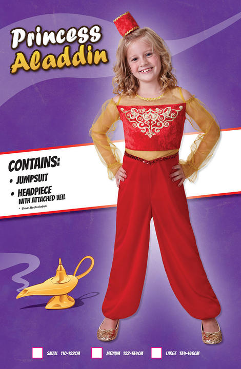 Girls Book Week Princess Aladdin Costume Kids Fancy Dress Outfit Thumbnail 2