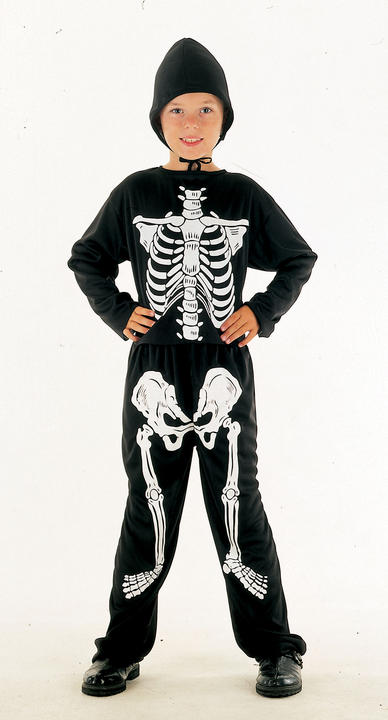 SALE Kids Spooky Skeleton Bones Boys Halloween Fancy Dress Childs Costume Outfit Thumbnail 1