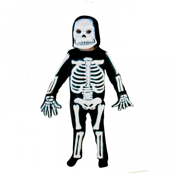 Kids Spooky 3D Skeleton Bones Boys Halloween Fancy Dress Childs Costume Outfit