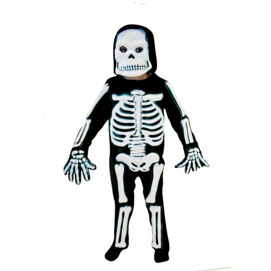 Kids Spooky 3D Skeleton Bones Boys Halloween Fancy Dress Childs Costume Outfit Thumbnail 1
