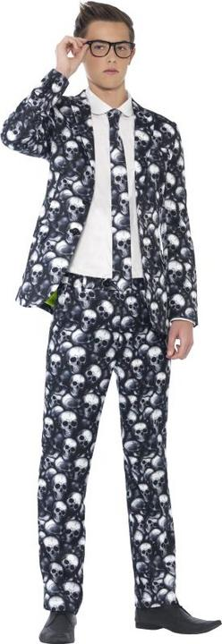 Teen Skeleton Suit With Jacket Boys Halloween Party Fancy Dress Costume Outfit  Thumbnail 1
