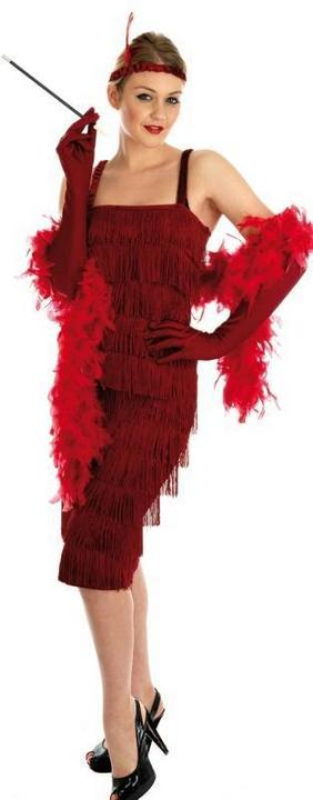 Roaring 20s Girl Fancy Dress Costumel Red Thumbnail 1