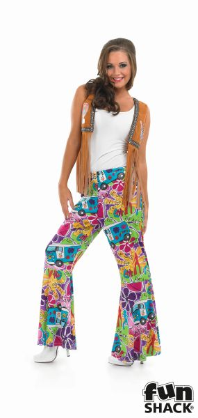 Hippie Patterened Flares Women's Fancy Dress Thumbnail 1
