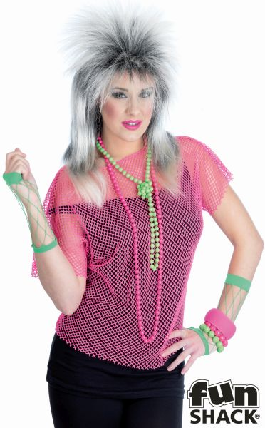 Sheer Pink Mesh Top Costume Ladies Love The 80's Fancy Dress Party Outfit Thumbnail 1