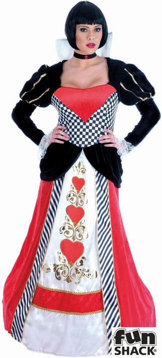Queen of Hearts Long Dress Fancy Dress Costume Thumbnail 1