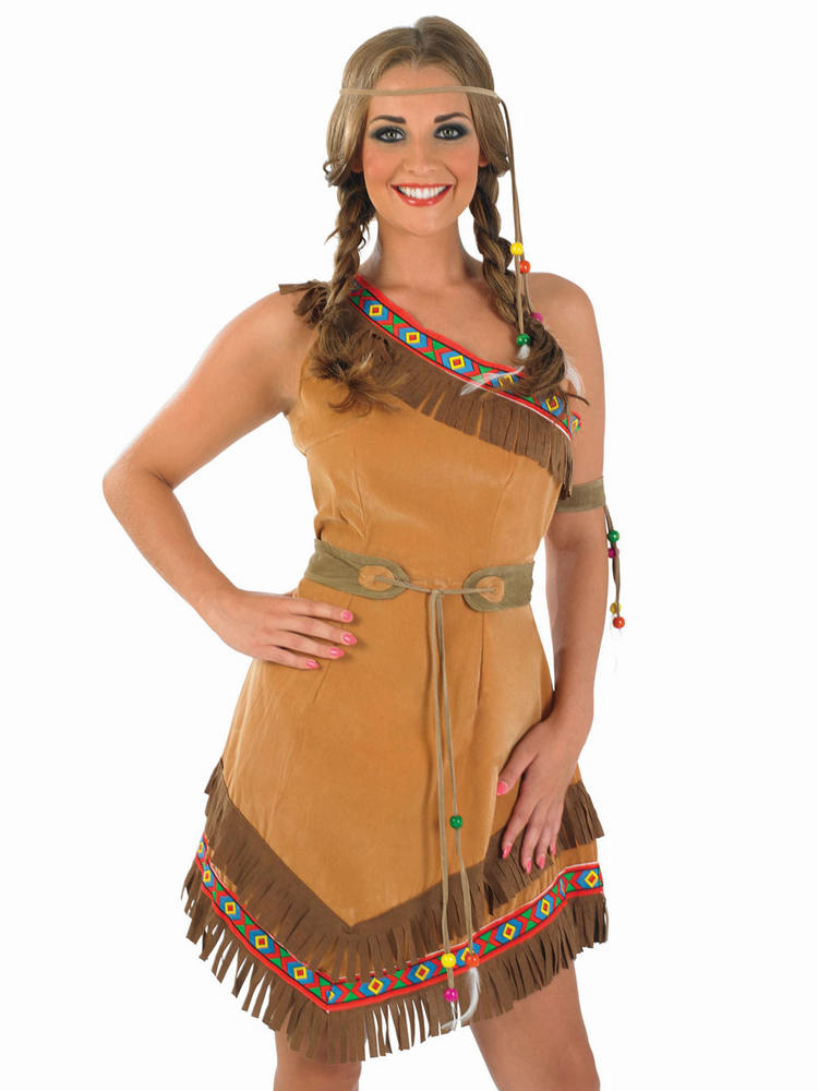 Deluxe Sexy Indian Squaw Ladies Fancy Dress Costume Party Outfit UK Size 8 - 26