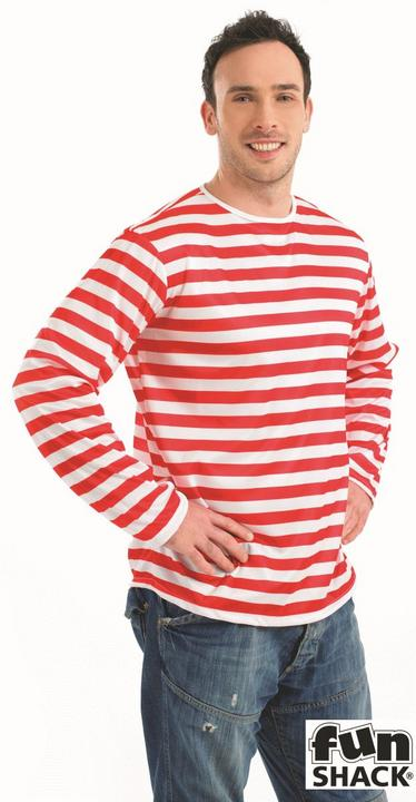 Red and white Striped Jumper Adults Fancy Dress Costume Thumbnail 1