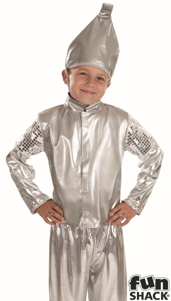 SALE! Child Tin Man Costume Boys Wizard of Oz Book Week Day Fancy Dress Outfit Thumbnail 1