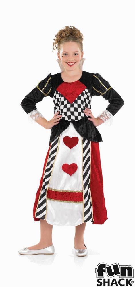 Kids Wonderland Queen Of Hearts Girls Book Week Fancy Dress Child Costume Outfit
