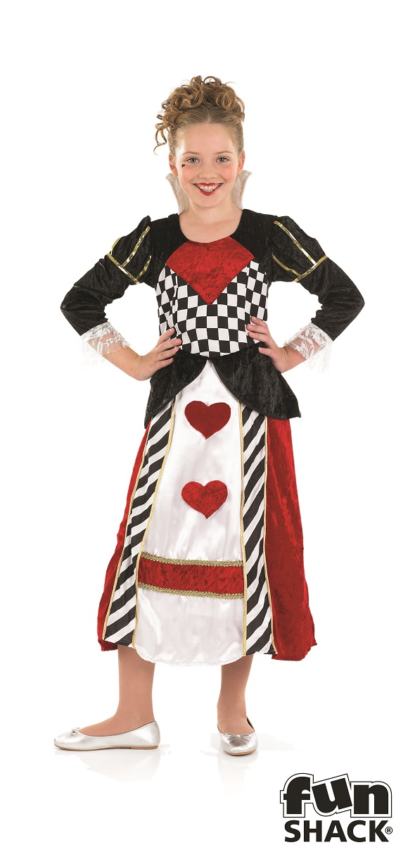 Kids Wonderland Queen Of Hearts Girls Book Week Fancy Dress Child Costume Outfit Thumbnail 1