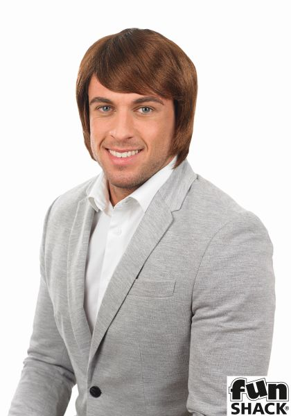 Mens Brown Boy Band Wig Thumbnail 1