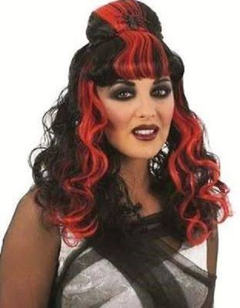 Womens Red & Black Spider Wig Thumbnail 1