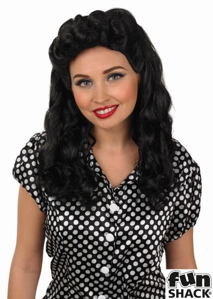 Womens Black Vintage Wig Thumbnail 1