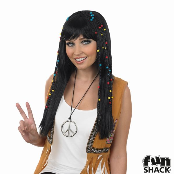 Womens Black Braided Hippie Wig