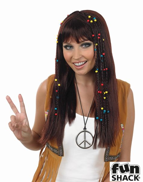 Womens  Brown Braided Hippie Wig
