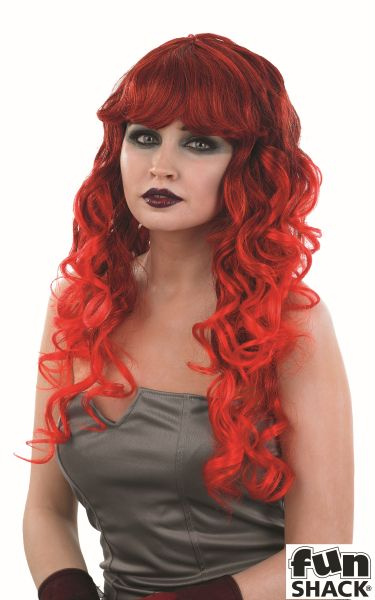 Adult Red Temptress Wig Ladies Halloween Party Fancy Dress Costume Accessory