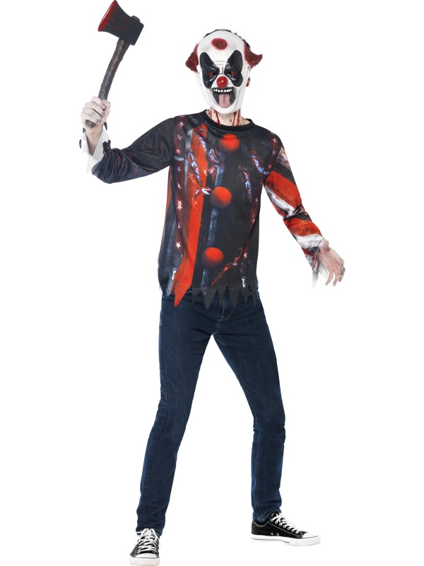 SALE Kids Evil Sinister Creepy Clown Kit Boys Halloween Fancy Dress Teen Costume
