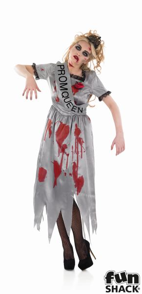 Adult Zombie High School Prom Queen Ladies Halloween Fancy Dress Costume Outfit Thumbnail 2