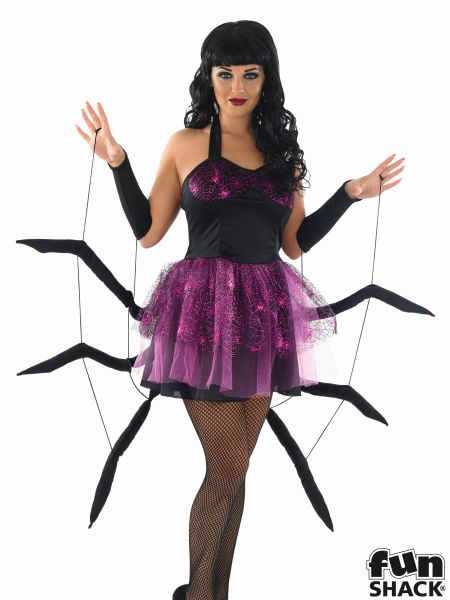 Adult Sexy Black Widow Spider Ladies Halloween Party Fancy Dress Costume Outfit Thumbnail 1