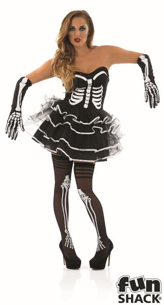 Adult Sexy Skeleton Bones Tutu Dress Ladies Halloween Fancy Dress Costume Outfit Thumbnail 2