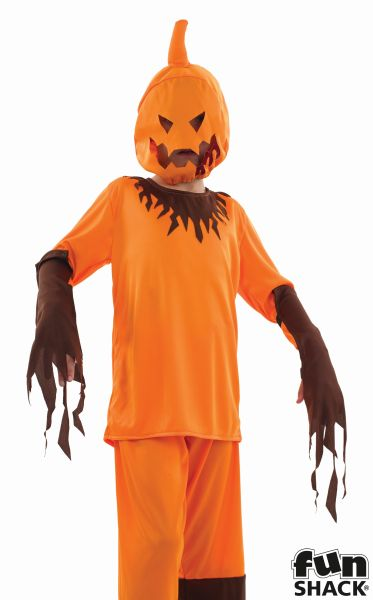Kids Scary Evil Pumpkin Boys Halloween Party Fancy Dress Childs Costume Outfit Thumbnail 1
