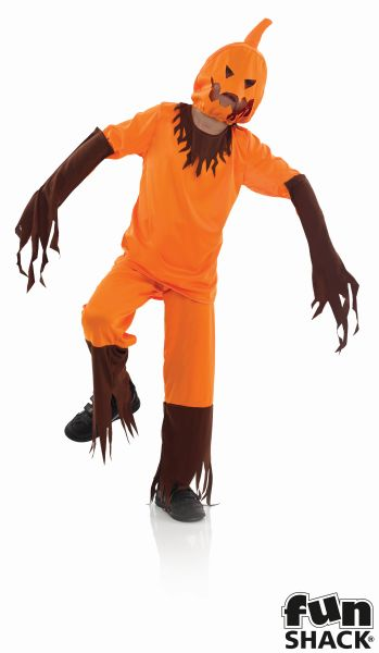 Kids Scary Evil Pumpkin Boys Halloween Party Fancy Dress Childs Costume Outfit Thumbnail 2