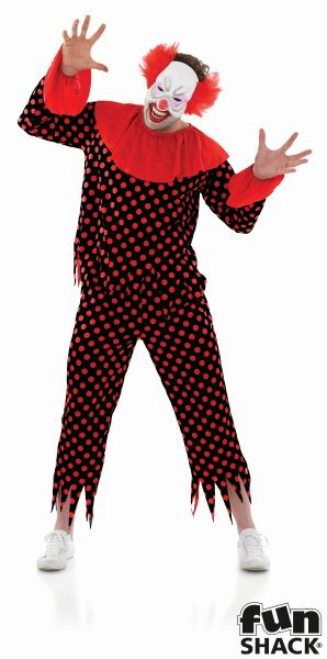 Adult Scary Zombie Circus Clown Mens Halloween Horror Fancy Dress Costume Outfit Thumbnail 1