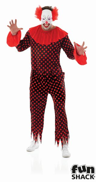 Adult Scary Zombie Circus Clown Mens Halloween Horror Fancy Dress Costume Outfit Thumbnail 3