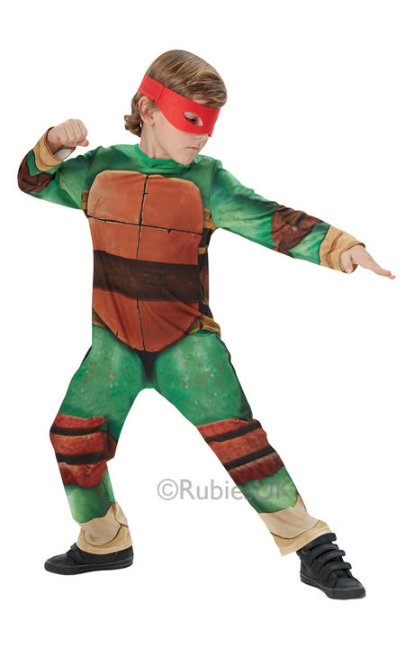 Kids Classic Teenage Mutant Ninja Turtles Boys Fancy Dress Childs Costume Outfit Thumbnail 1