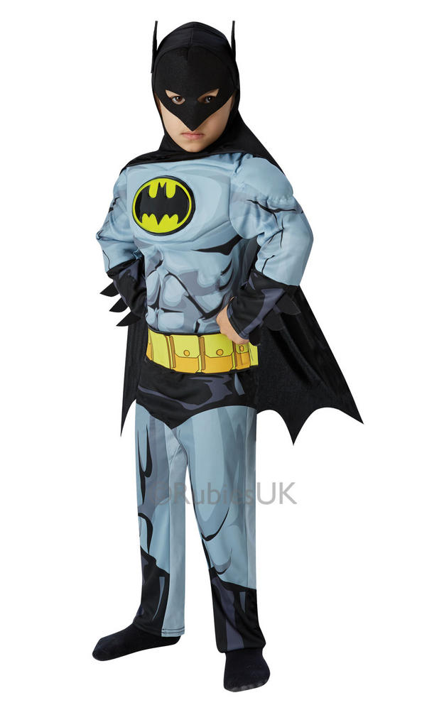 Kids Deluxe Comic Book Superhero Batman Boys Fancy Dress Childs Costume Outfit
