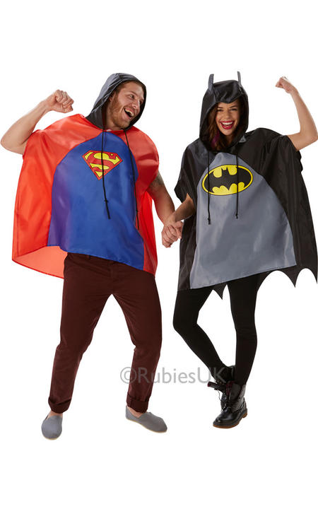 SALE! Adult Superhero Batman Festival Poncho Ladies / Mens Fancy Dress Costume Thumbnail 1