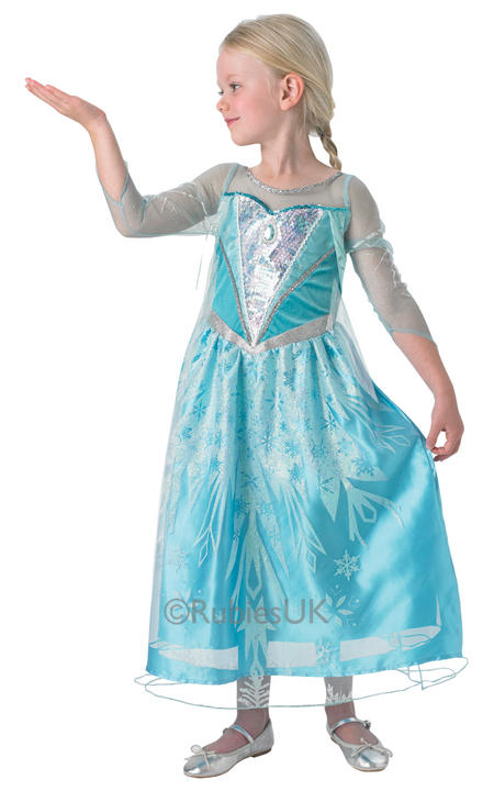 Kids Disney Frozen Premium Princess Elsa Girls Fancy Dress Childs Costume Outfit Thumbnail 1