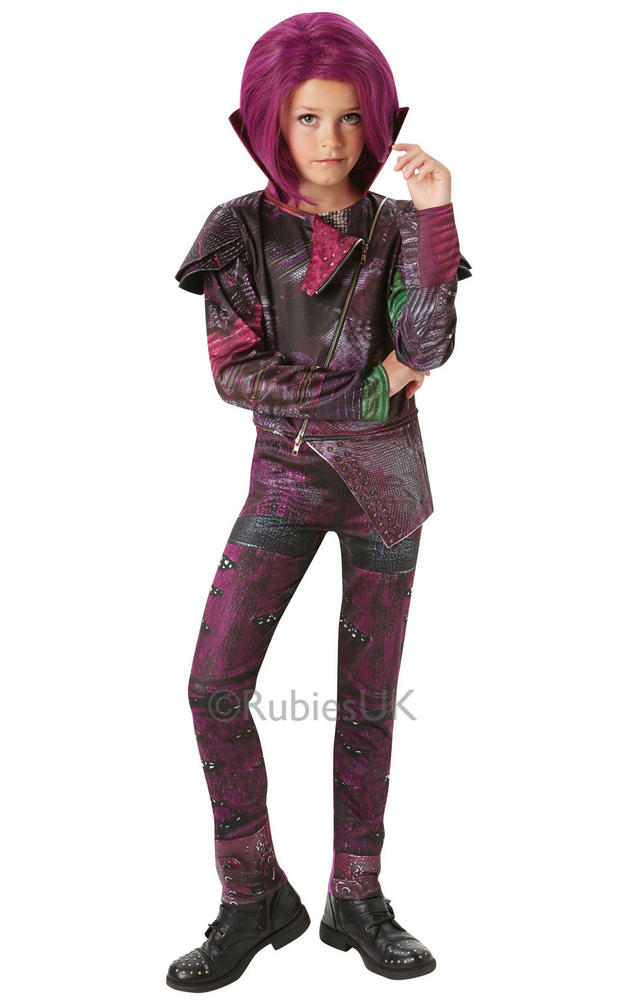 Disney Descendants Childs Mal Deluxe Fancy Dress Costume Isle Of The Lost Girls
