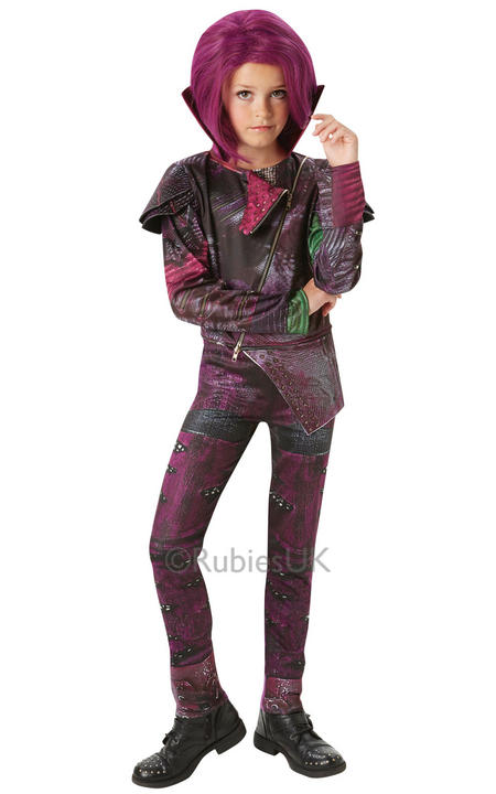 Disney Descendants Childs Mal Deluxe Fancy Dress Costume Isle Of The Lost Girls Thumbnail 1