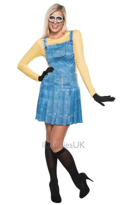 Womens Despicable Me Minion Costume Ladies Fancy Dress Outfit Thumbnail 1