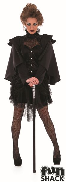 Adult Sexy Victorian Black Widow Ladies Halloween Fancy Dress Costume Outfit Thumbnail 2