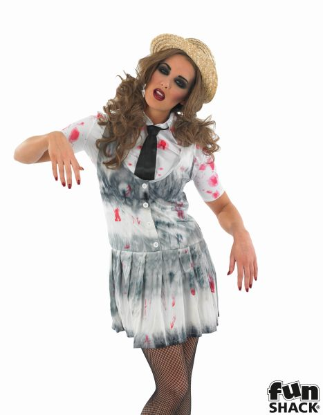 Adult Sexy Zombie School Girl Ladies Halloween Party Fancy Dress Costume Outfit Thumbnail 1