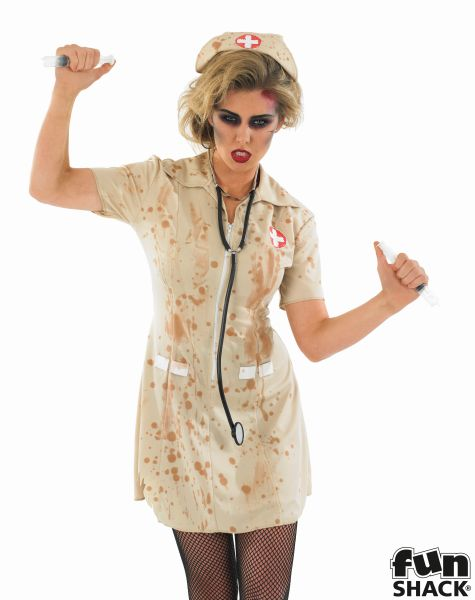 SALE Adult Walking Dead Zombie Nurse Ladies Halloween Fancy Dress Costume Outfit